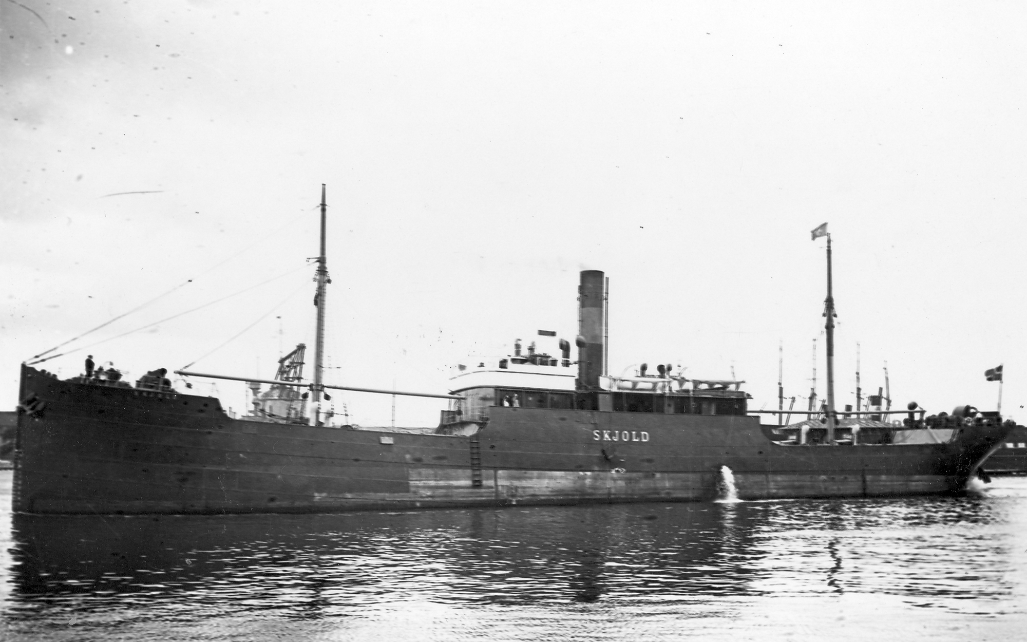 Egebjerg was signed on the SS <em>Skjold</em> when the war broke out. The ship was requisitioned by the Ministry of War Transport during the Second World War in May 1940. (Marine Museum of Denmark)