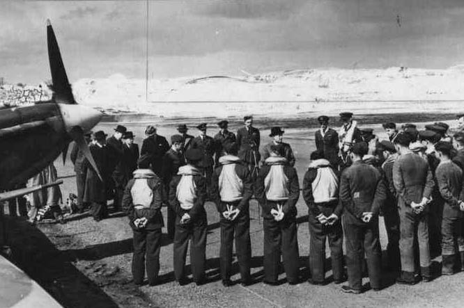 Danish representatives and pilots at the ceremony at RAF Station Coltishall, 10 April 1942.