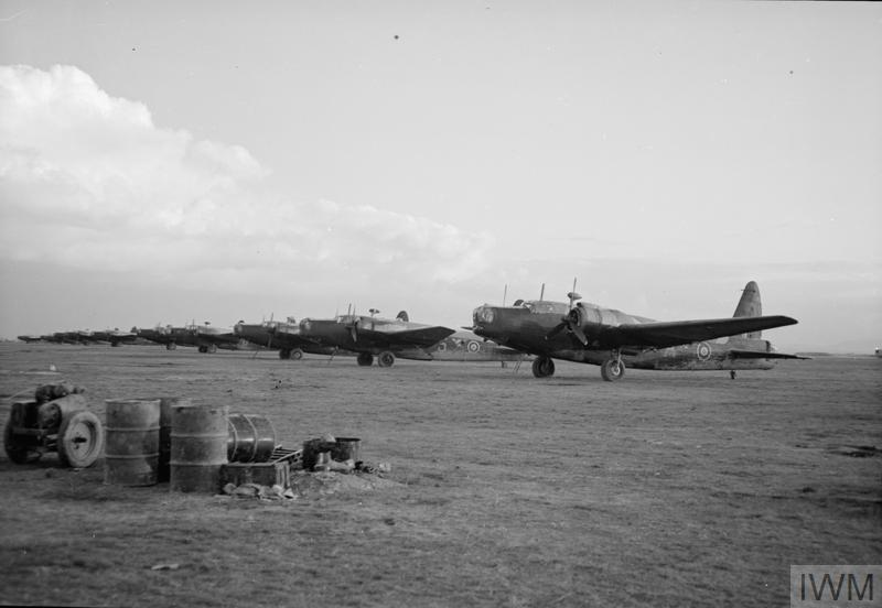 Line of Vickers Wellington Mark IIIs and Mark Xs, possibly No. 40 Squadron RAF at Foggia Main, Italy.