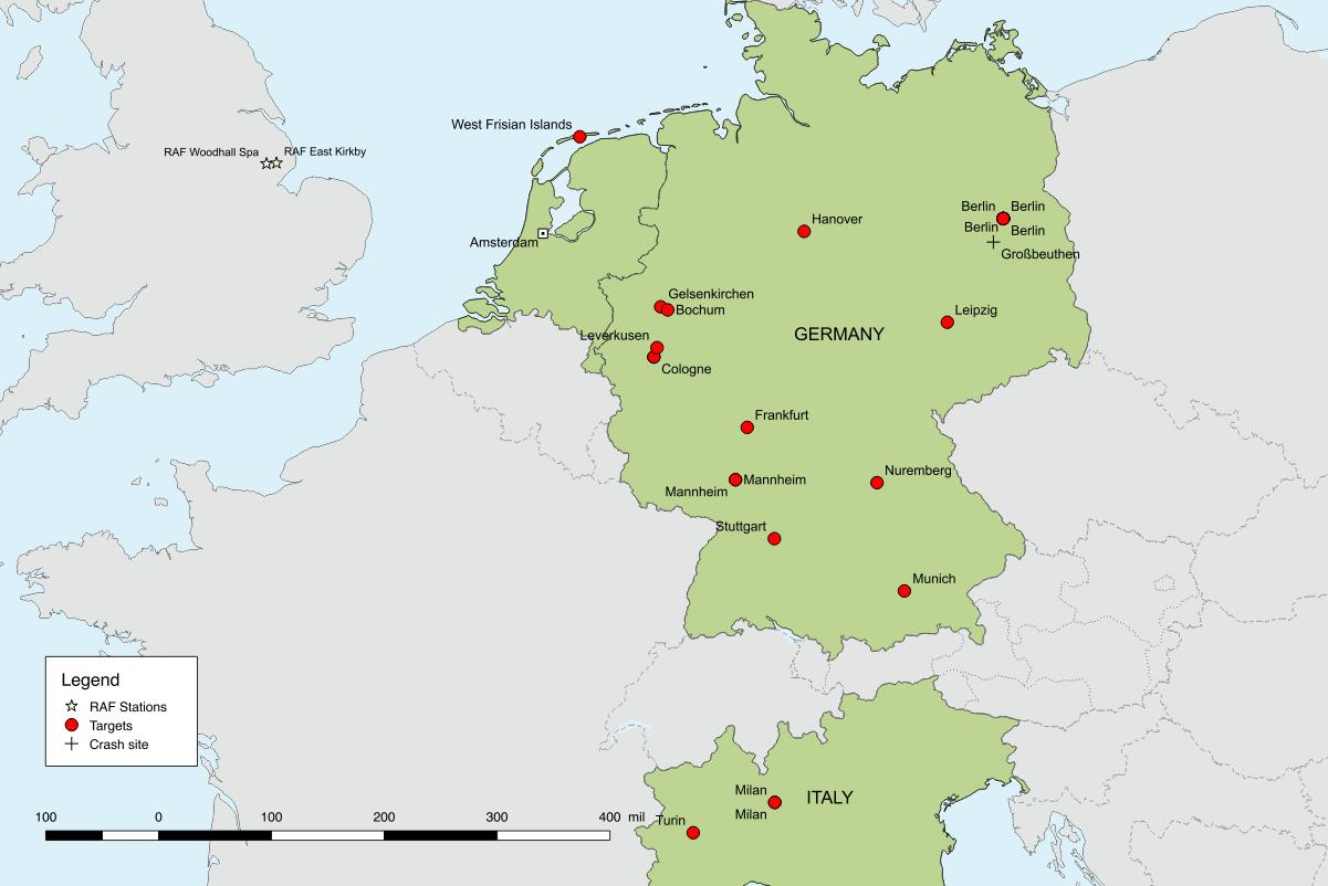 Map showing Westergaard's twenty-five operation. As Westergaard carried out more than one operation on several targets (Berlin, Cologne, Mannheim) the number of markers does not add to twenty-five. © Plannthin